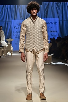 Beige Vintage Koti Jacket With Denim Jacket & Pants by Kunal Rawal