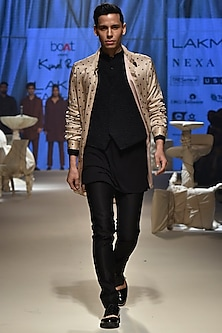 Beige Over Shirt With Black Kurta, Pants & Waistcoat by Kunal Rawal