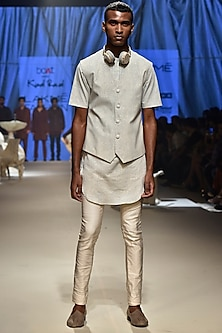 Vanilla Textured Kurta Set With Koti Jacket by Kunal Rawal