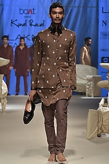 Mushroom Floral Kurta Set With Bandi by Kunal Rawal