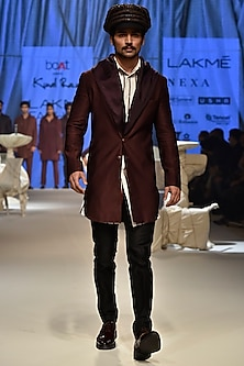 Wine Sherwani With Hoodie, Vanilla Striped Kurta & Black Pants by Kunal Rawal
