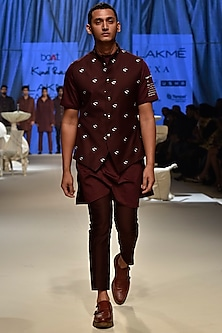 Wine Printed Kurta Set With Floral Koti Jacket by Kunal Rawal