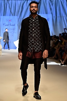 Black & Maroon Corded Sherwani Set by Kunal Rawal