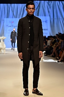 Grey & Black Sherwani Set With Waistcoat by Kunal Rawal