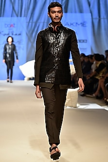 Black Corded Bandi With Brown Bandhgala & Olive Green Formal Pants by Kunal Rawal