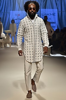 Ice Blue Textured Kurta Set by Kunal Rawal