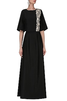 Black bell sleeves crop top with high waist skirt by Kavya Chandra