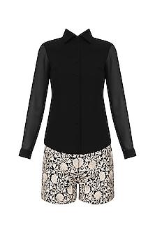 Black embroidered shorts with basic shirt by Kavya Chandra