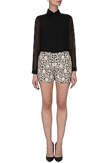 Black embroidered shorts with basic shirt by Kavya Chandra