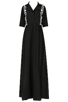 Black panelled collar dress by Kavya Chandra