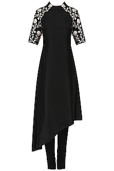 Black asymmetric tunic with churidaar pants