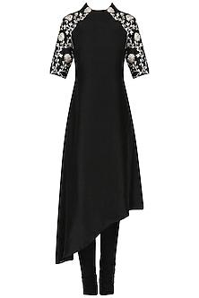 Black asymmetric tunic with churidaar pants by Kavya Chandra