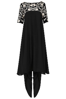 Black panelled tunic with dhoti pants