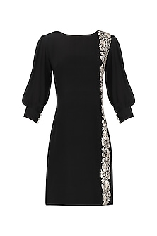 Black embroidered dress by Kavya Chandra