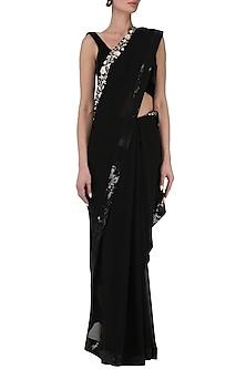 Black saree with blouse by Kavya Chandra