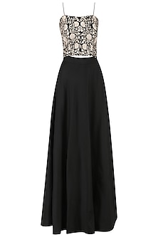 Black embroidered crop top and skirt by Kavya Chandra