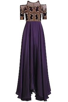 Charcoal Grey Jaal Embroidered Luxembourg Tool Gown
