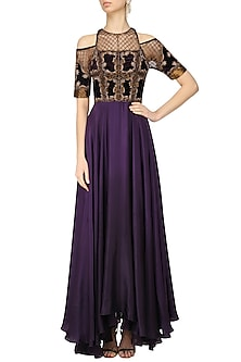 Charcoal Grey Jaal Embroidered Luxembourg Tool Gown by Kartikeya