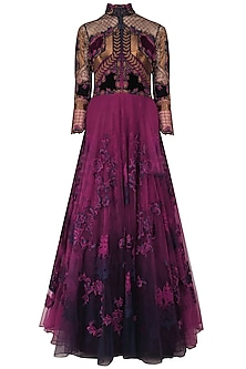 Navy Blue and Purple Applique Work Conciergerie Gown