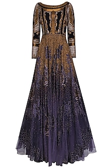 Charcoal Grey and Gold Appique Work Maison Tool Gown