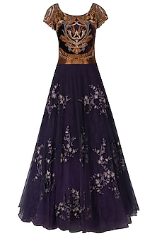 Charcoal Grey Thread Embroidered Flared Gown