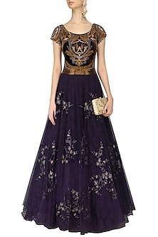Charcoal Grey Thread Embroidered Flared Gown by Kartikeya