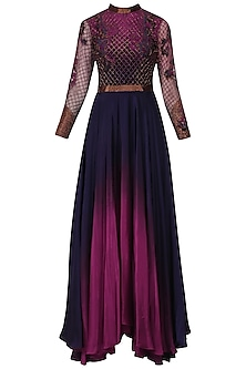 Navy Blue and Red Jaal Embroidered Ombre Shaded Gown