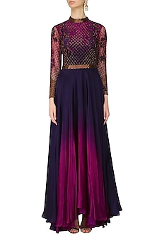 Navy Blue and Red Jaal Embroidered Ombre Shaded Gown by Kartikeya