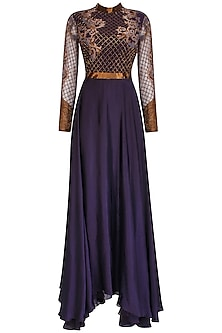 Charcoal Grey Jaal Embroidered Full Sleeves Gown by Kartikeya