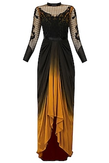 Black and Ochre Tool Palais Garnier Motif Gown