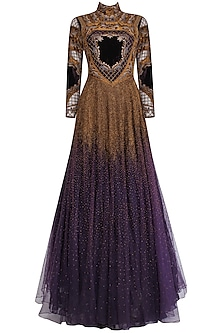 Charcoal Grey and Gold Threadwork Armour Louvre Tool Gown