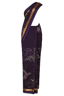 Purple Threadwork and Pipe Border Selvage Saree