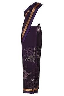 Purple Threadwork and Pipe Border Selvage Saree by Kartikeya