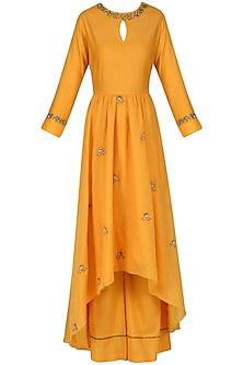 Burnt Orange Embroidered Anarkali and Palazzo Pants Set