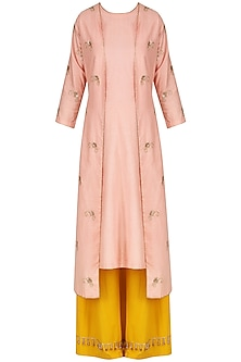 Blush Pink Embroidered Kurta and Palazzo Pants Set by Kazmi India