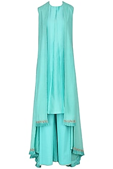 Ice Blue Embroidered Overlayer Kurta and Palazzo Pants