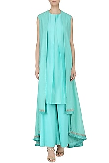 Ice Blue Embroidered Overlayer Kurta and Palazzo Pants by Kazmi India