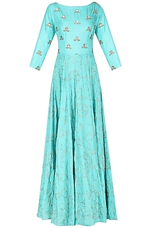 Ice Blue Embroidered Anarkali Set by Kazmi India