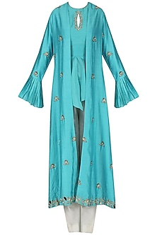 Blue Embroidered Overlayer Peplum Top with Pants and Cape Set