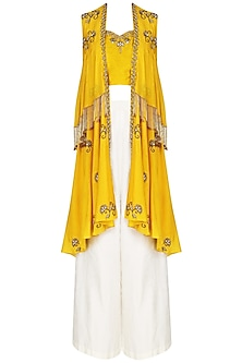 Turmeric Yellow Embroidered Bustier with Cape and Palazzo Pants Set