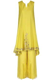 Yellow Embroidered Tunic with Pants