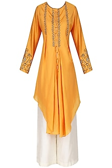 Burnt Orange Embroidered Tunic with Palazzo Pants