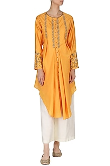 Burnt Orange Embroidered Tunic with Palazzo Pants by Kazmi India
