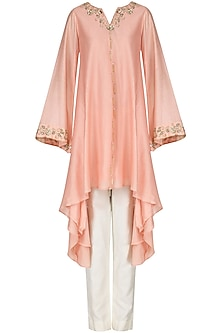 Blush Pink Embroidered Tunic with Palazzo Pants