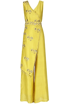 Yellow Embroidered Overlapping Jumpsuit