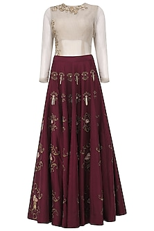 Grey Embroidered Bodysuit with Oxblood Lehenga Set by Kazmi India