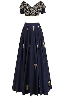 Navy Embroidered Lehenga Set by Kazmi India