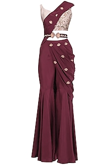 Oxblood Embroidered Pre Stitched Sharara Saree with Belt