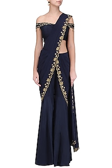 Blue Embroidered Pre Stitched Sharara Saree by Kazmi India