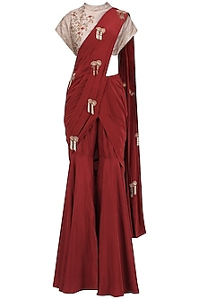 Red and Gold Embroidered Pre Stitched Sharara Saree